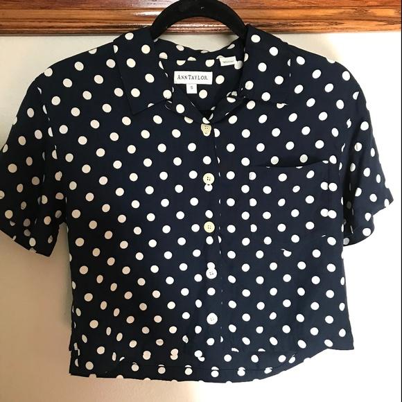 e67b48727 Ann Taylor Tops - Ann Taylor vintage polka dot crop blouse • small